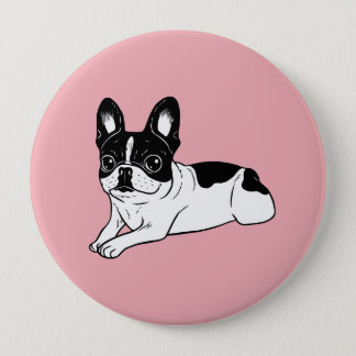 Double Hooded Pied Frenchie Pinback Button