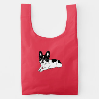 Double Hooded Pied Frenchie Reusable Bag