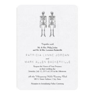 Double Human Skeletons Black Card