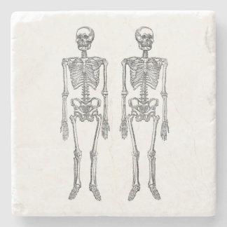 Double Human Skeletons Black Stone Coaster