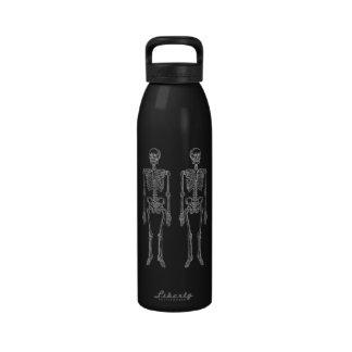 Double Human Skeletons White Water Bottle