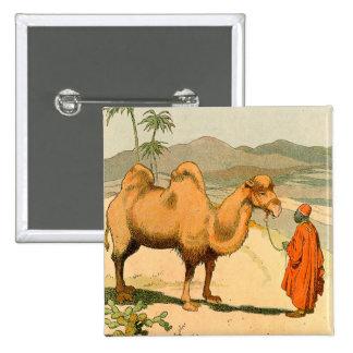 Double-Hump Camel in the Mongolian Desert Button