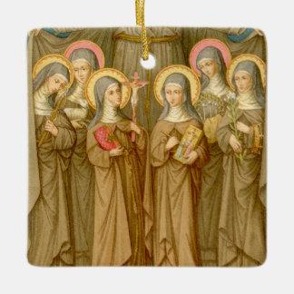 Double Image SIx Poor Clare Saints (SAU 027) Ceramic Ornament