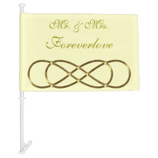 Double Infinity antique gold + your backgr. Car Flag