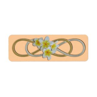 Double Infinity BiColor Frangipani Return Address Labels