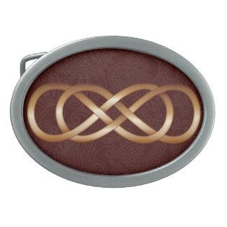 Double Infinity Bronze on Deep Red- Belt Buckle-2 Oval Belt Buckle