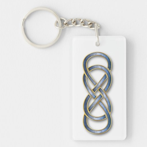 Double Infinity Cloisonne' Blue/Gold - Key Chain Acrylic Keychains