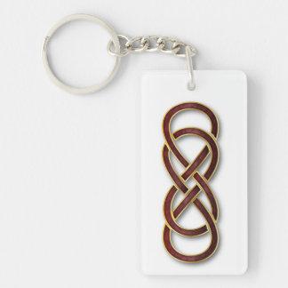 Double Infinity Cloisonne' Garnet - Key Chain