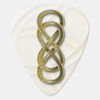 Double Infinity Cloisonne' Jade & Gold-Guitar Pick