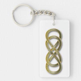 Double Infinity Cloisonne' Jade - Key Chain Rectangular Acrylic Keychain