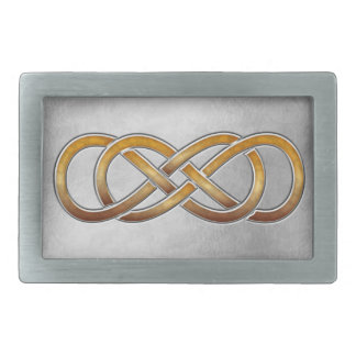 Double Infinity Cloisonne' Marbled Amber2 - Buckle Rectangular Belt Buckle