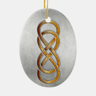 Double Infinity Cloisonne' Marbled Amber2-Ornamen Ceramic Ornament