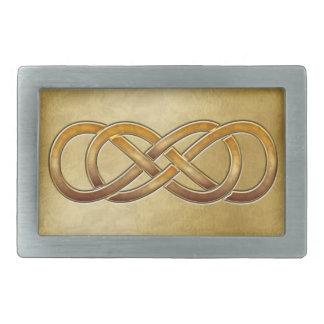 Double Infinity Cloisonne' Marbled Amber - Buckle Rectangular Belt Buckle
