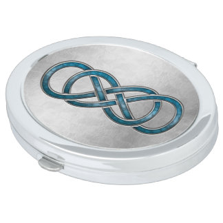 Double Infinity Cloisonne' Marbled Aqua - Compact Vanity Mirror