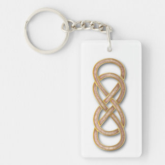 Double Infinity Cloisonne' Rose Pink - Key Chain