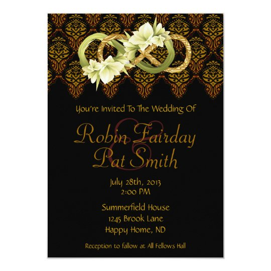 Double Infinity-Gold & Cowlilies- Wedding Invite 2
