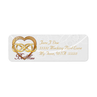 Double Infinity Gold Heart 1 - Address Label