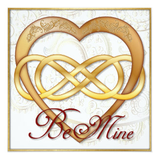 Double Infinity Gold Heart 1 - Be Mine! Valentine Card