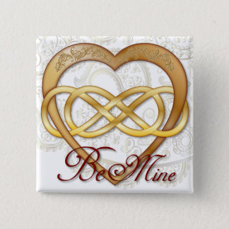 Double Infinity Gold Heart 1 - Sq. Button