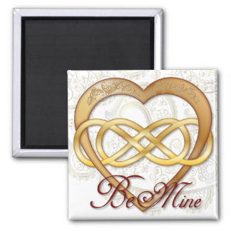 Double Infinity Gold Heart 1 - Sq. Magnet