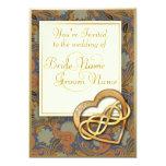 "Double Infinity Gold Heart 1 - Wedding Invite 5"" X 7"" Invitation Card"