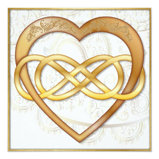 Double Infinity Gold Heart 2 - Be Mine! Valentine Card