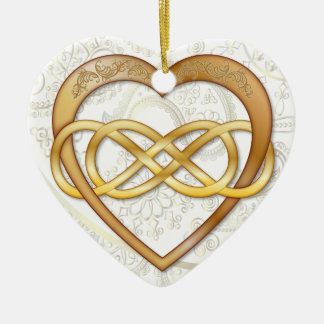 Double Infinity Gold Heart 2 - Ornament