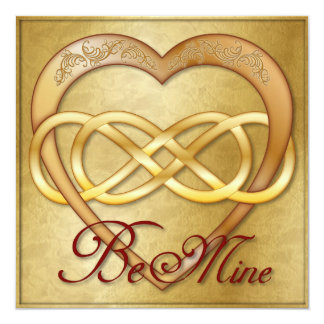 Double Infinity Gold Heart 3 - Be Mine! Valentine Card