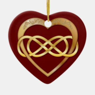 Double Infinity Gold Heart 3 - Ornament