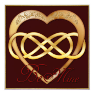 Double Infinity Gold Heart 4 - Be Mine! Valentine Card