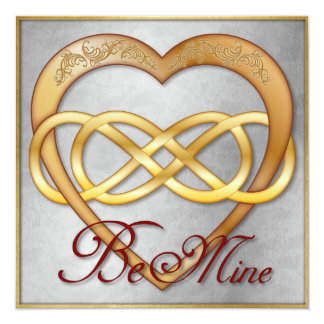 Double Infinity Gold Heart 5 - Be Mine! Valentine Card