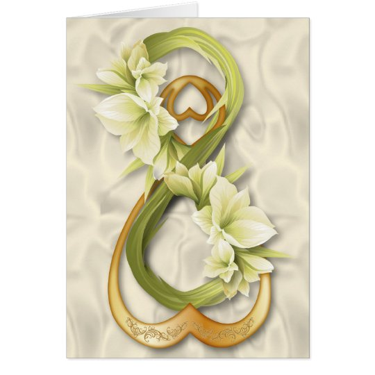 Double Infinity-Gold Heart & Cowlilies Card