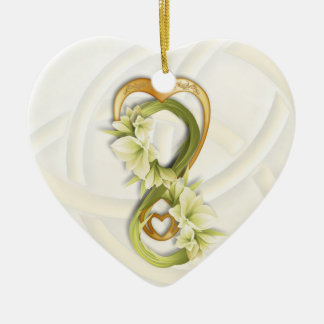 Double Infinity Gold Heart & Cowlilies-White Heart Ceramic Ornament