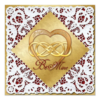 Double Infinity Gold Heart & Lace Card
