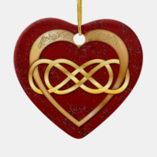 Double Infinity Gold Heart Red Marble - Ornament