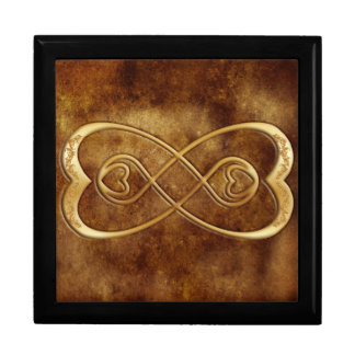 Double Infinity Gold Hearts - Brown Leather Design Gift Box