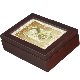 Double Infinity Gold Hearts, Lace, Calla Lily Box