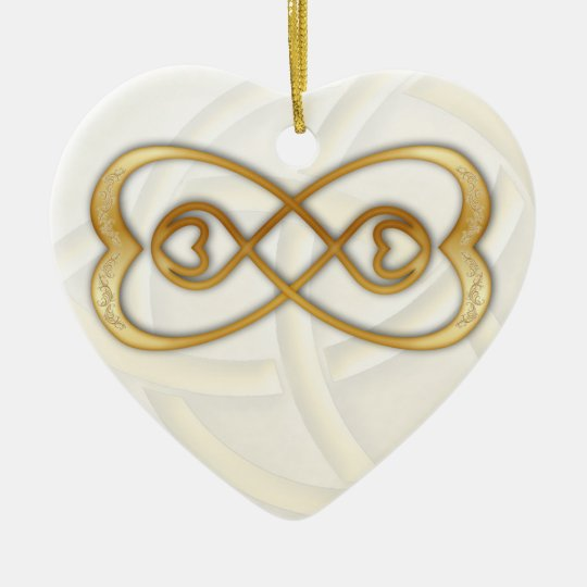 Double Infinity Gold Hearts on White Heart Ceramic Ornament