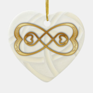Double Infinity Gold Hearts on White Heart Ornament
