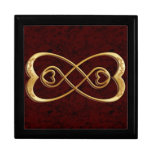 Double Infinity Gold Hearts - Red Marble Design Keepsake Box