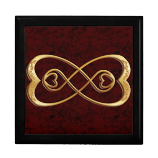 Double Infinity Gold Hearts - Red Marble Design Jewelry Box