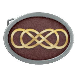 Double Infinity Gold on Deep Red- Belt Buckle-2 Oval Belt Buckle