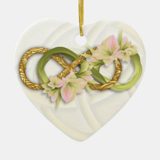 Double Infinity Gold & Pink Cowlilies-White Heart Ceramic Ornament