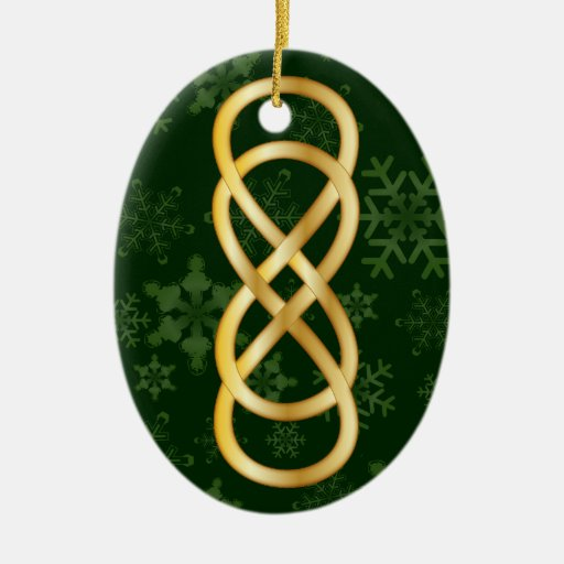 Double Infinity Gold & Snowflakes on Deep Green Christmas Tree Ornaments