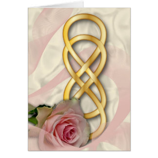 Double Infinity-Gold With Pink Rose & Ribbon Card