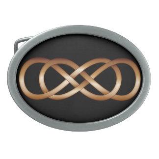 Double Infinity in Bronze on Black- Belt Buckle