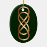 Double Infinity in Bronze on Deep Green Christmas Tree Ornament