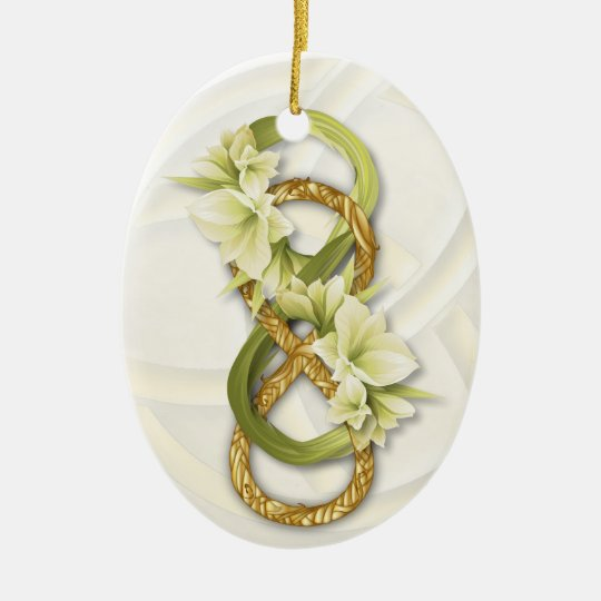 Double Infinity in Gold & Cwolilies on White Ceramic Ornament