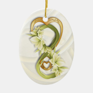 Double Infinity in Gold Heart & Cowlilies - 1 Ceramic Ornament