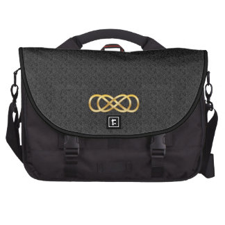 Double Infinity in Gold on Black - Laptop Bag